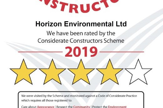 Four-star rating following Considerate Constructors visit July 2020